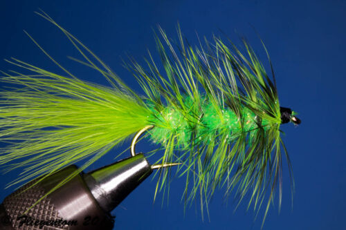 Fliegentom 3 Stück Wooley Bugger chartreuse