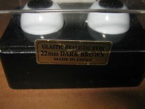 Glastic Realistic Acrylic Doll Eyes 20mm Dark Brown NOS Teddy Bear Crafts