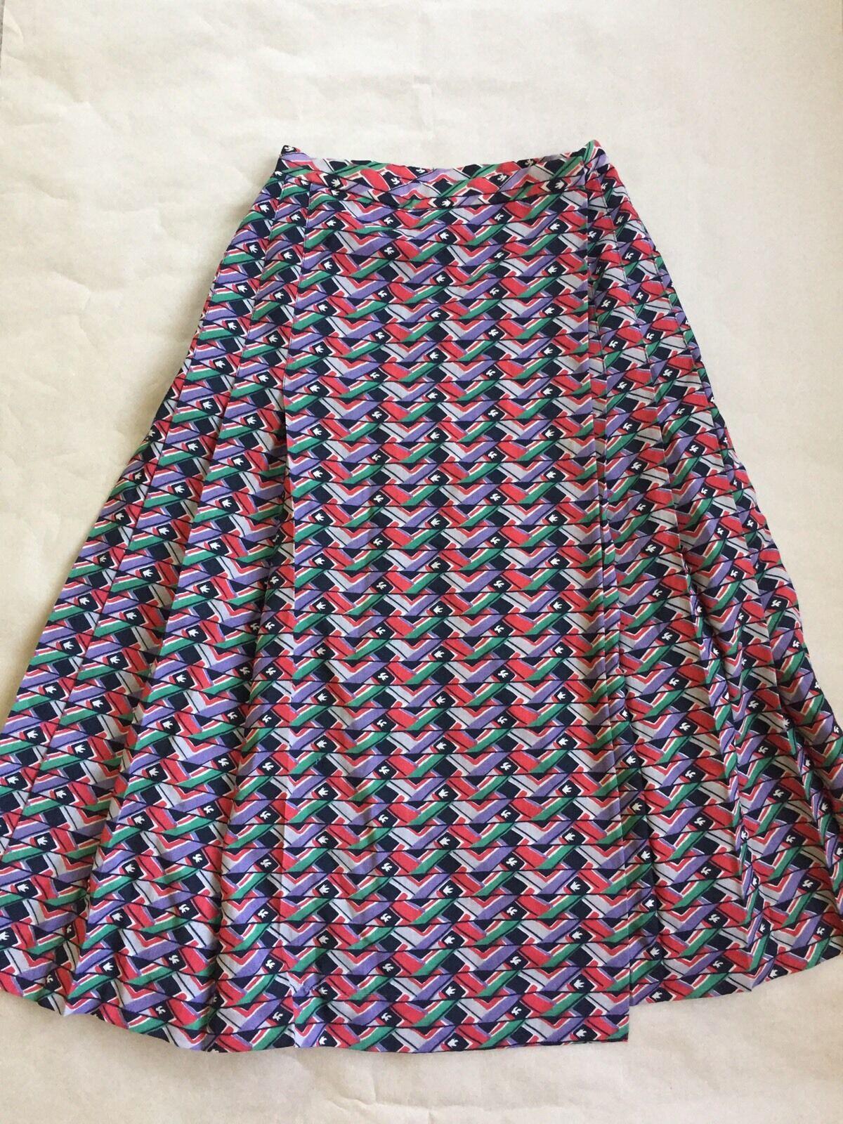 Vintage Gloria Sachs Geometric Pattern Multicolor Wrap Skirt