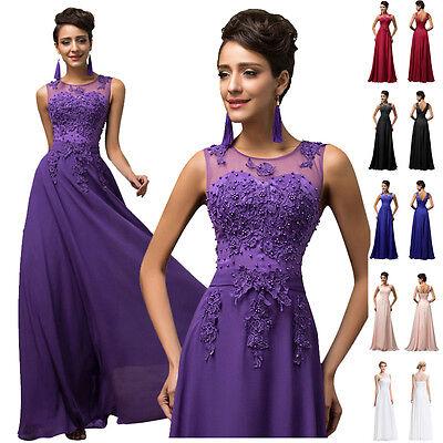 Stunning Applique Long Formal Evening Graduation Bridesmaid PARTY Prom Dresses