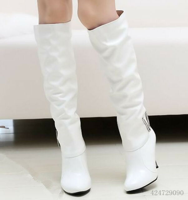Women's Synthetic  High Heel Rhinestone Knee High Boots Shoes AU All Size Y044