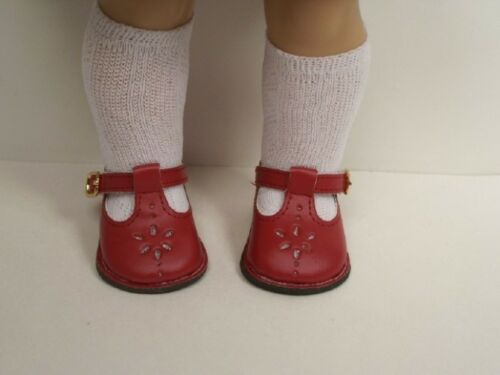 """BRICK RED School T-Strap EZ Close Doll Shoes For 18/"""" American Girl Dolls Debs"""