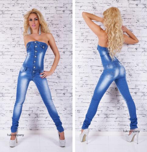 Women/'s Denim Combinaison Bandeau Overall Bleu Clair Délavé Jeans Taille UK 8-16