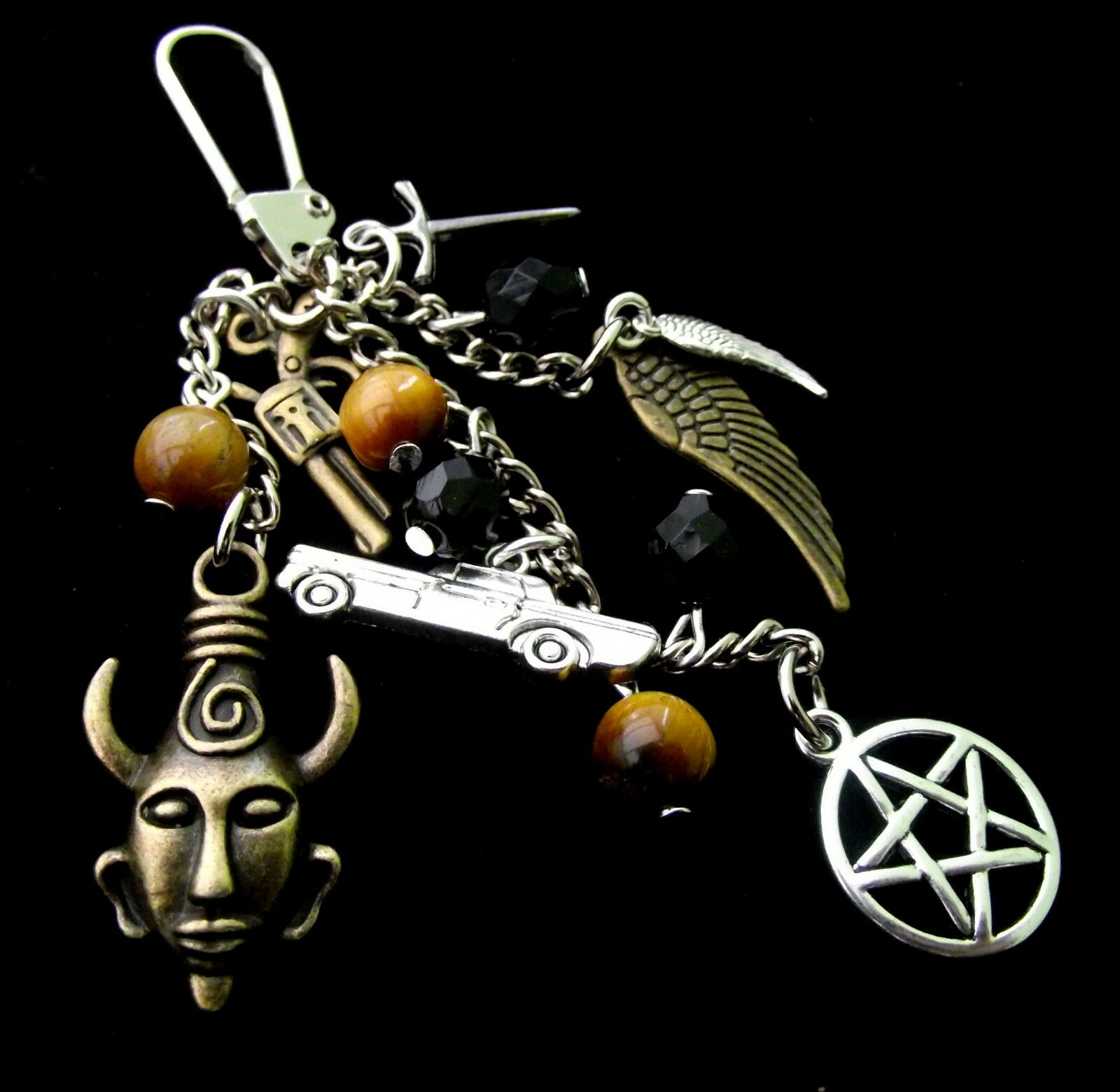 Supernatural Inspired Bag Charm! -Keychain with Pentagram, Angel Wing Charms etc