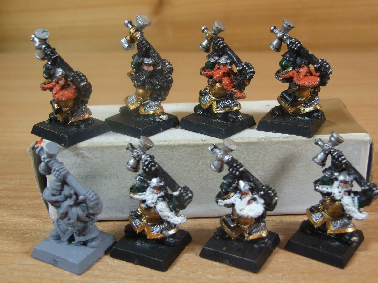8 CLASSIC METAL WARHAMMER DWARF HAMMERERS PAINTED (1221)