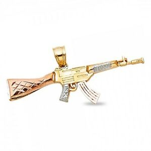 caedecd61b 14k Yellow White Rose Gold Rifle Gun Pendant AK-47 Machine Gun Charm ...