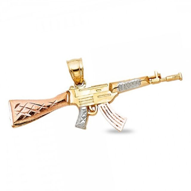 14k Yellow White Rose Gold Rifle Gun Pendant AK-47 Machine Gun Charm Bold  Design