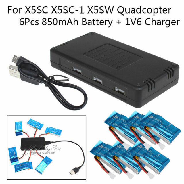 6 x 3.7V 850mAh Lipo Battery + 6 In 1 Charger Kit For Syma X5SW X5SC RC Drone
