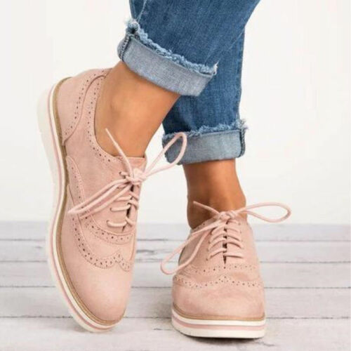 Women Oxfords Lace Up Flat Shoes Smart Work Office Lady Casual Brogues Trainers