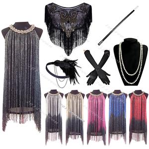 Vintage-1920-039-s-Gatsby-Fringe-Flapper-Dress-Charleston-20s-Costume-Tassel-Party