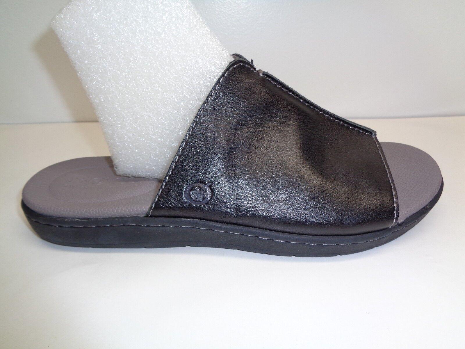 Nacido M cuvu negro completo grano cuero se Desliza Sandalias nuevo Zapatos para hombre