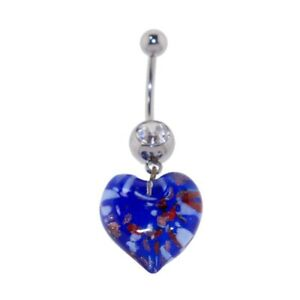 Steel Curved Barbell w/Pyrex Heart Dangle Blue w/Red Belly Ring
