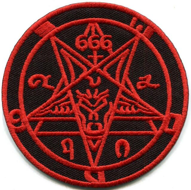 Satanic Goats Head Baphomet Pentagram Pentacle 666 Occult Red On