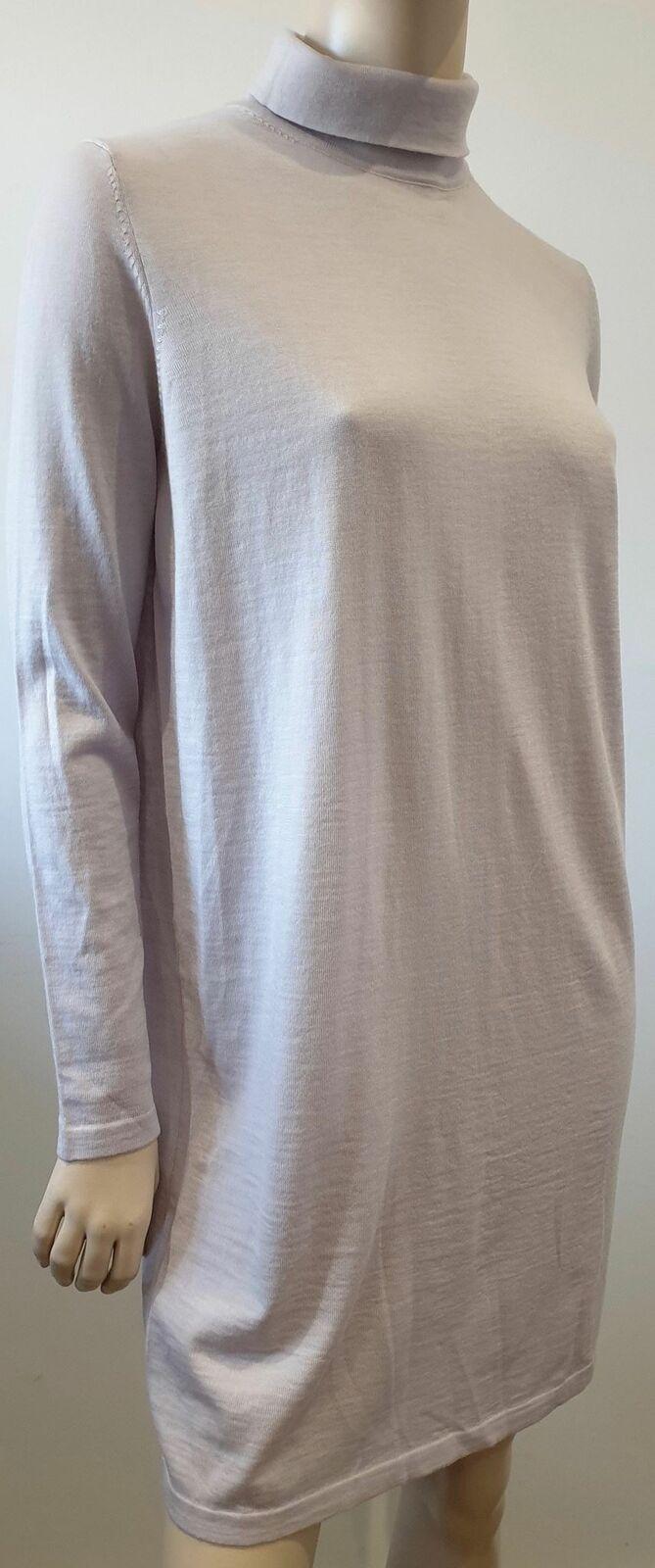 COS COS COS grigio pallido OYSTER 100% lana con collo in stile polo di alta a manica lunga fine Maglione Abito Lavorato a Maglia 04eb0f
