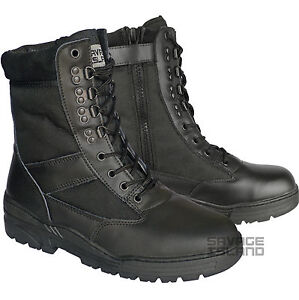 Black-Leather-SIDE-ZIP-Army-Patrol-Combat-Boots-Tactical-Cadet-Security-902