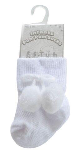 New Infants Baby Girls Boys Pom Pom Bobble Spanish Romany Style Ankle High Socks