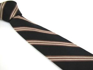 Vintage-3-034-English-Repp-Silk-Tie-1-Stripe-Dark-Navy-Blue-Cream-Brown-by-Briar