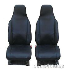 BLACK-BLACK FABRIC SEAT COVERS TAILORED FOR TOYOTA AYGO, CITROEN C1, PEUGEOT 107