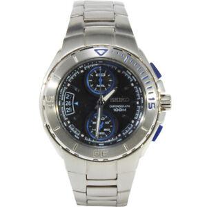 Seiko-Criteria-SNN009-P1-Silver-Black-Blue-Dial-Men-039-s-Chronograph-Quartz-Watch