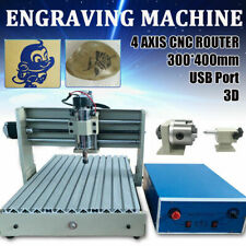 New Listingusb 4 Axis Cnc Router Engraver Wood Milling Drilling 3d Carving Machine 3040 Rc