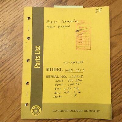 Gardner Denver WBH 3650 PARTS MANUAL BOOK CATALOG LIST GUIDE AIR COMPRESSOR EBay
