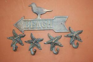 "6/"" Rusty Brown Cast Iron Sea Art Starfish Home Beach Wedding Nautical Decor Sign"