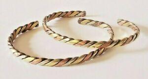 Copper Brass Silver Metal Twisted Healing Bracelet Bangle Handmade - US Seller