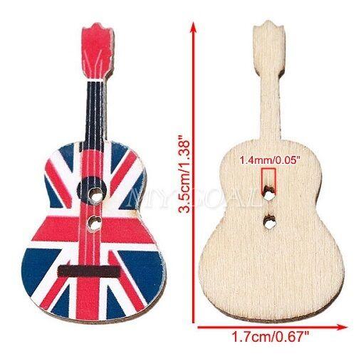 10 Botones de Madera Guitarra De Unión Jack Reino Unido chatarra reserva de Costura Artesanía Reino Unido Vendedor