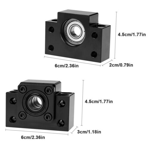 Fixed Floated Side End Supports Bearing Mounts Set for Ball Screw 10//12//15mm gd