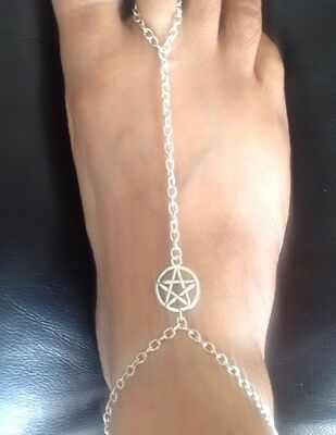 Fast Deliver Tibetan Silver Pentacle Pentagram Barefoot Sandal Slave Anklet/ankle Chain Jewelry & Watches Anklets