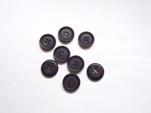 8pc 22mm Raven Black With a Bit of Brown Coat Cardigan Knitwear Button 4677