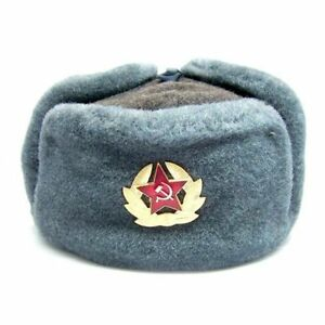 Image is loading Authentic-Soviet-and-Russian-soldier-army-hat-ushanka 869f898c463