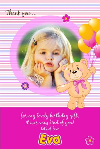 Personalised Birthday Thank You Cards Teddy Bear x 5