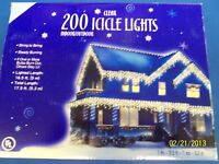 Clear Icicle Lights Indoor Outdoor Winter Christmas Holiday Party Decoration