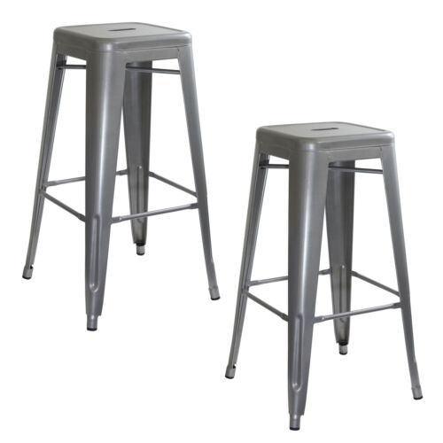 Loft Silver Metal Bar Stool 2 Piece