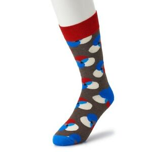 HS-Happy-Socks-Men-039-s-Combed-Cotton-Socks-10-13-NWT-Multi-color-Circles
