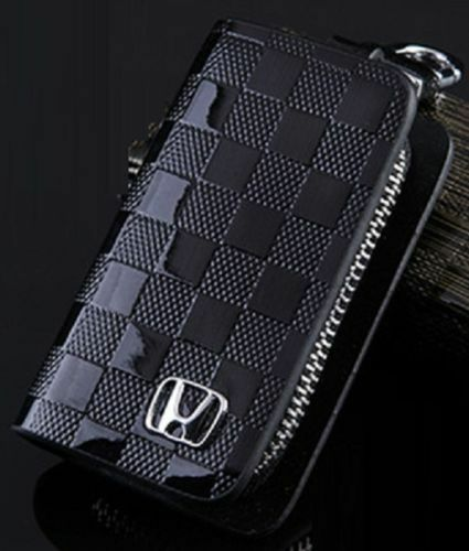 Honda Leather Car Key Keychain Fob Case Holder Zipper Cover High Quality Black