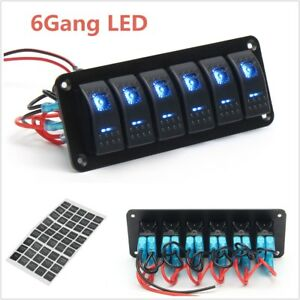 6-Gang-LED-Light-Bar-Car-Caravan-Marine-Boat-Rv-Rocker-Switch-Panel-Circuit-IP65
