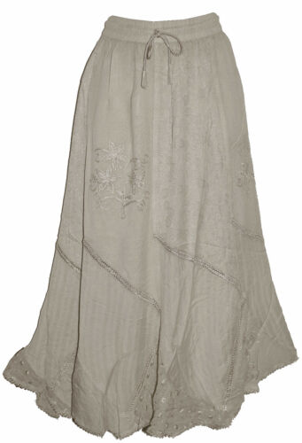 LADIES NEW HIPPY BOHO GYPSY EMBROIDED ACID WASH SKIRT ONE FIT 7901