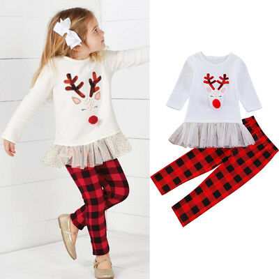 2PCS Toddler Kids Baby Girls Outfits Clothes Deer T-shirt Tops Dress Pants Set