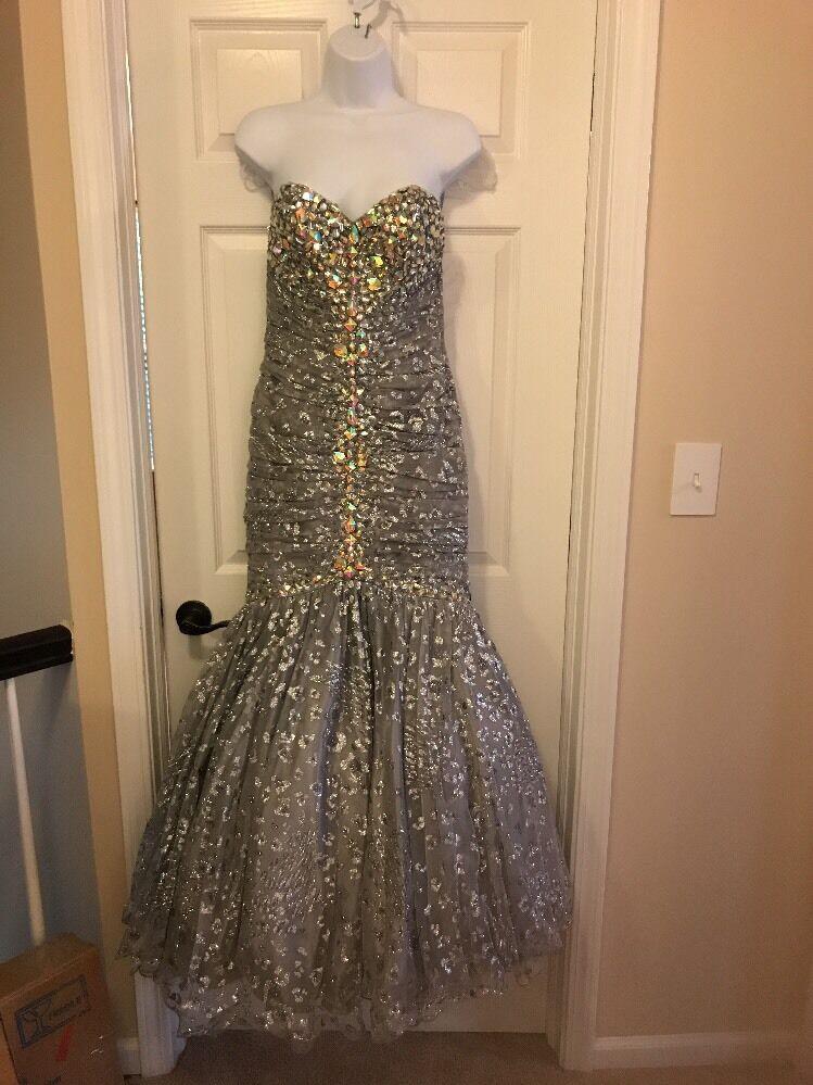 Jovani Designer Dress  Champagne Embroidered Strapless Mermaid Evening Gown
