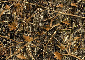 brown camouflage rug 37 x52 wilderness woods pine trees wildlife