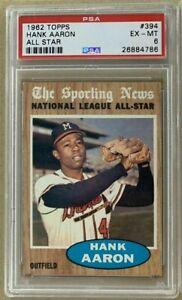 1962-Topps-Sporting-News-All-Star-HANK-AARON-Baseball-Card-Home-Run-King-PSA-6