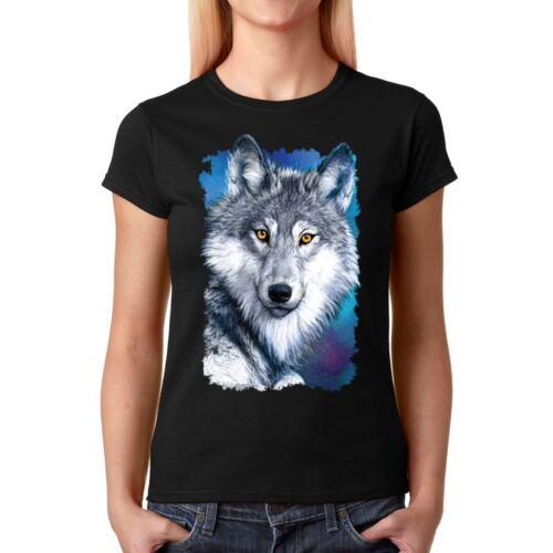 Velocitee Femmes T-shirt blanc d/'hiver Wolf A22355