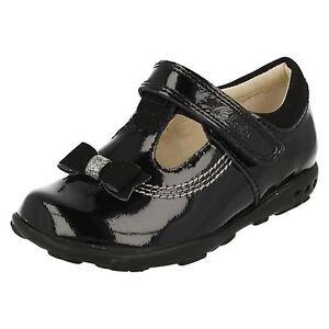 Negro Fst Ella Niña Clarks Rubí T bar Charol Zapatos qqTaXn