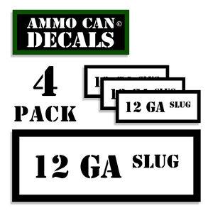 """12 GA SLUG Ammo Can 4x Labels  Ammunition Case 3""""x1.15"""" stickers decal 4 pack WT"""