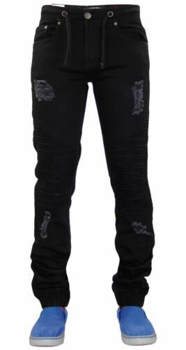 Mens Slim Fit Ripped Jeans LODN Stretch Denim Pants Designer Trousers 28 To 38