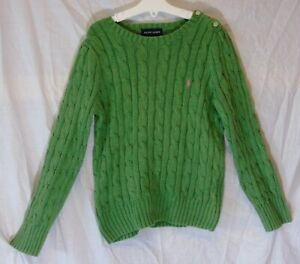 Girls-Ralph-Lauren-Designer-Green-Soft-Feel-Cable-Knit-Winter-Jumper-Age-6-Years