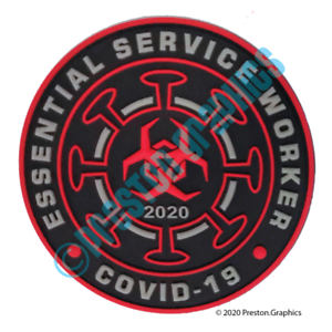 "3.5"" Essential Service Worker PVC Morale Patch with Hook & Loop Fastener"