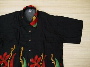 Hawaiihemd-Hawai-Hawaii-Hemd-Viskose-schwarz-Blumen-rot-Korallenriff